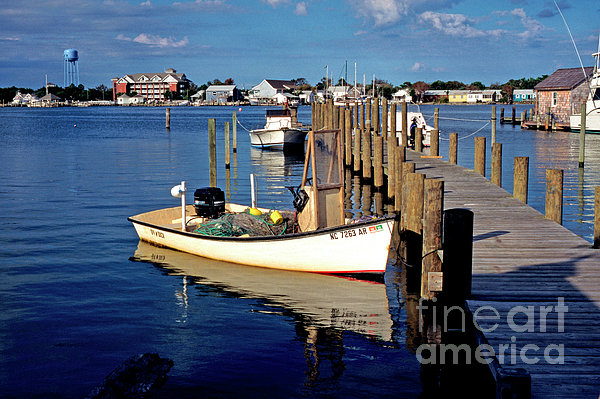 Fishing Boats At Dock Ocracoke Village Print by Thomas R Fletcher