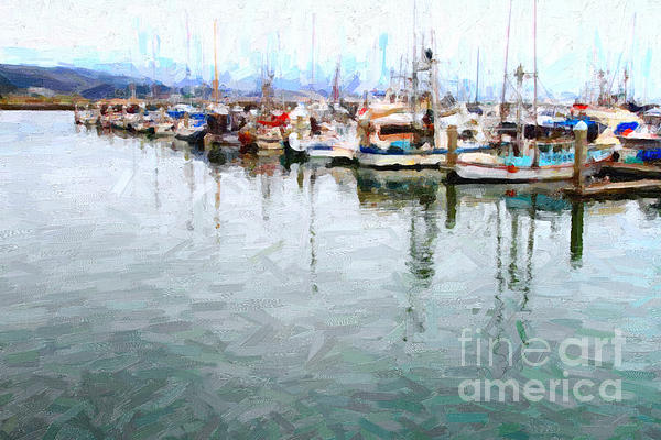 Fishing Boats At The Dock . 7d8187 Print by Wingsdomain Art and Photography