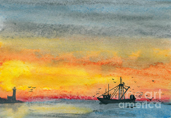 Fishing In The Evening  Print by R Kyllo