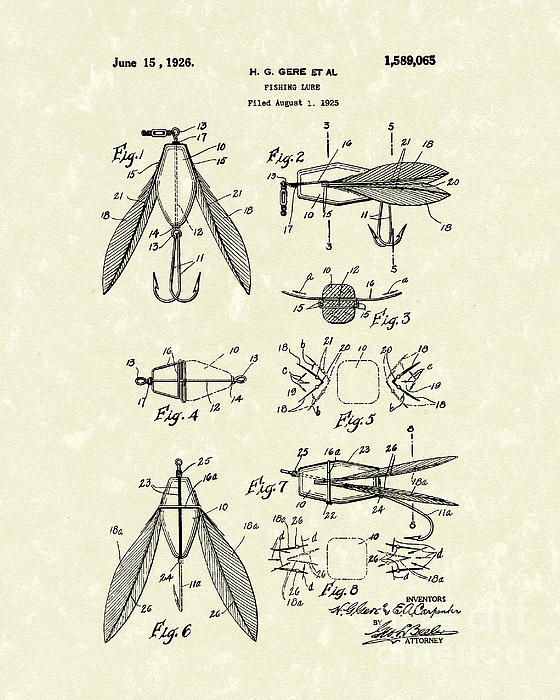 Fishing Lure 1926 Patent Art  Print by Prior Art Design