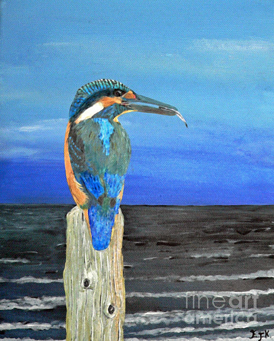 Fishing post Kingfisher of Eftalou. Painting