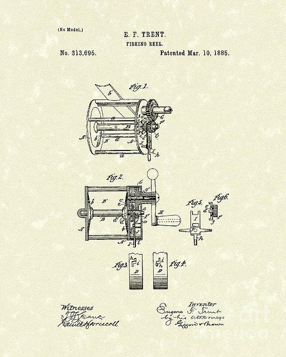 Fishing Reel 1885 Patent Art Print by Prior Art Design