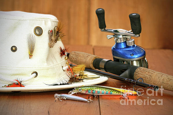 Fishing Reel With Hat And Color Lures Print by Sandra Cunningham