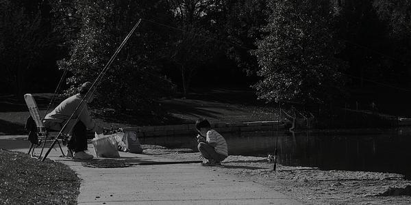Fishing With Grandpa Print by Anna Villarreal Garbis