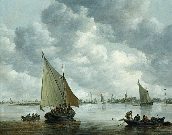 Fishingboat In An Estuary Print by Jan Josephsz van Goyen