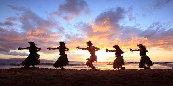 Five Hula Dancers At Sunset Photograph  - Five Hula Dancers At Sunset Fine Art Print