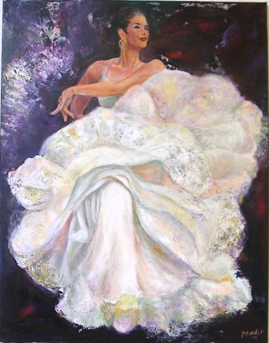 Flamenco dancer white Painting