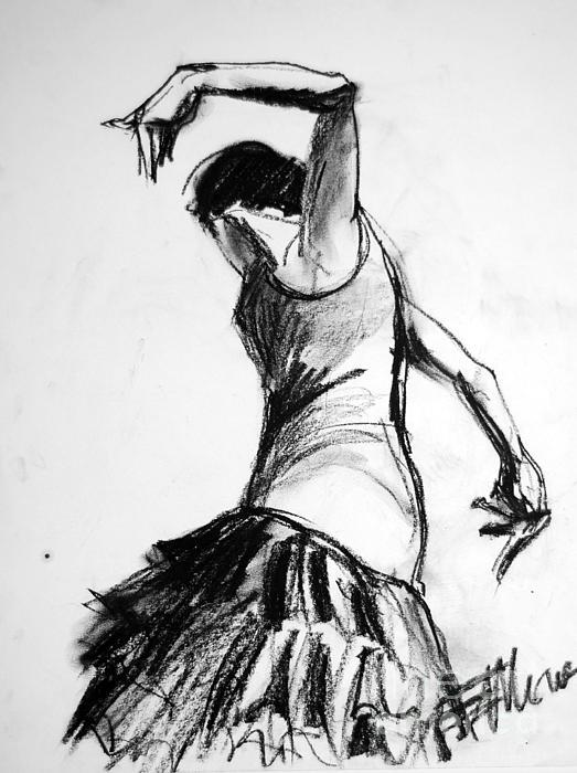 Flamenco Sketch 2 Print by Mona Edulesco