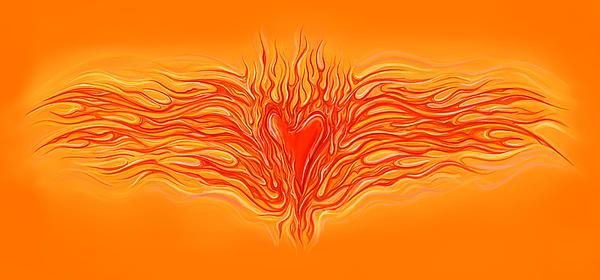 Flaming Heart Print by David Kyte