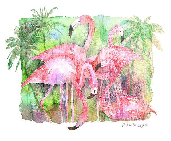 Flamingo Five Print by Arline Wagner