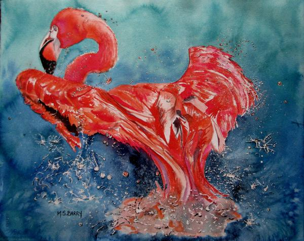 Flamingo Inflight Print by Maria Barry