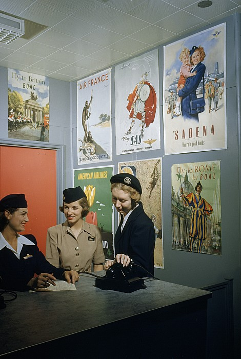 Flight Attendants Stand And Talk Print by B. Anthony Stewart