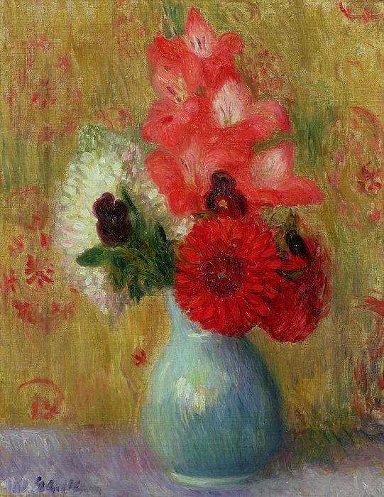 Floral Arrangement In Green Vase Print by William James Glackens