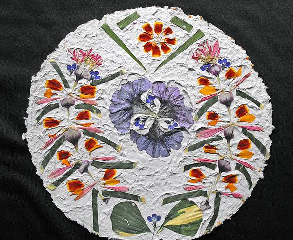 Floral Collage On Handmade Paper No. 1985 Print by Mircea Veleanu