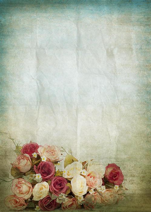 Floral Pattern On Old Paper Print by Setsiri Silapasuwanchai