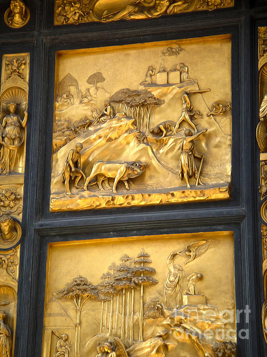 Florence Italy - Baptistry Doors Print by Gregory Dyer