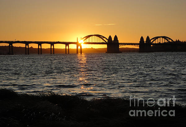 Florence Oregon - Art Deco Bridge At Sunset Print by Gregory Dyer