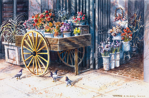 Flower Cart Pioneer Sq Seattle Painting  - Flower Cart Pioneer Sq Seattle Fine Art Print