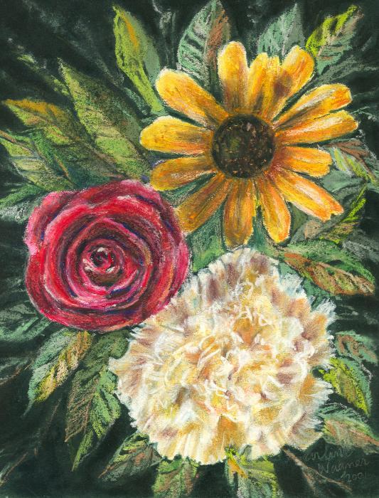 Flower Trio Print by Arline Wagner