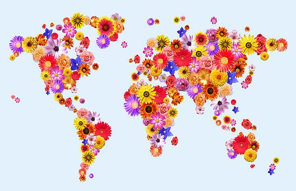 Flower World Map Print by Michael Tompsett