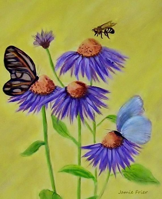 pictures of flowers and butterflies. Flowers and Butterflies Painting - Flowers and Butterflies Fine Art Print