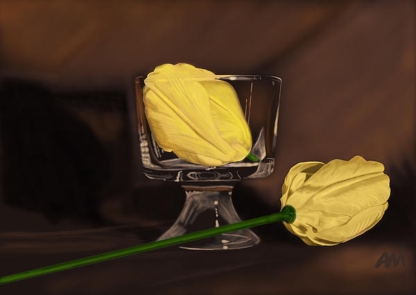Flowers And Glass Print by Tony Malone