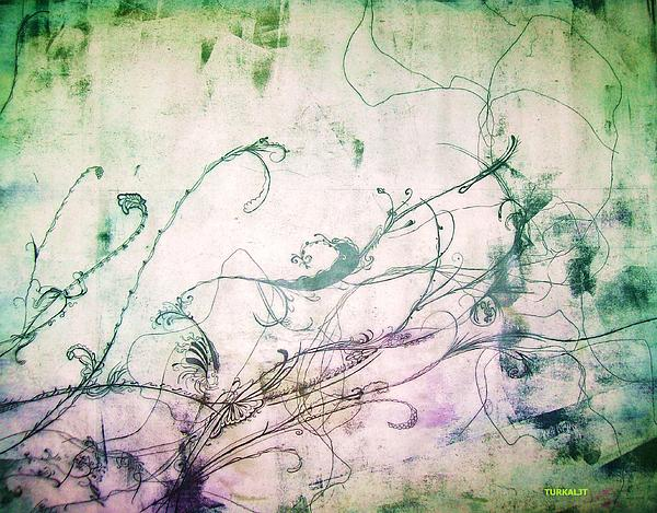 Flowers And Vines Two Print by Tomislav Neely-Turkalj