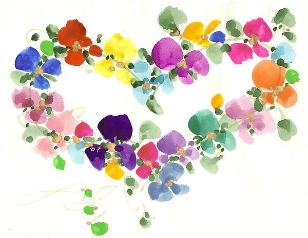 Flowers In My Heart Print by Darlene Flood