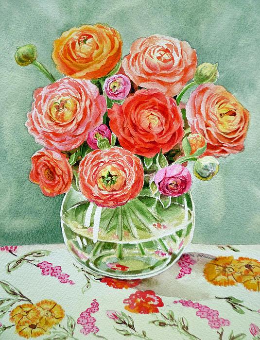 Flowers In The Glass Vase Print by Irina Sztukowski