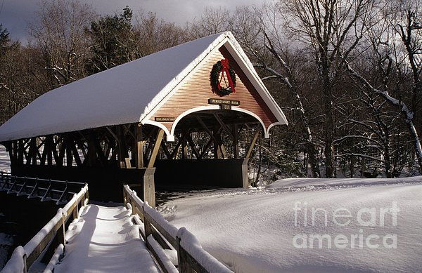 Flume Covered Bridge - Lincoln New Hampshire Usa Print by Erin Paul Donovan