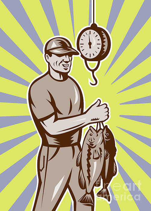 Fly Fisherman Weighing In Fish Catch  Print by Aloysius Patrimonio