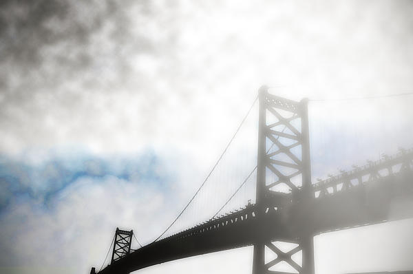 Foggy Ben Franklin Bridge - Philadelphia Print by Bill Cannon