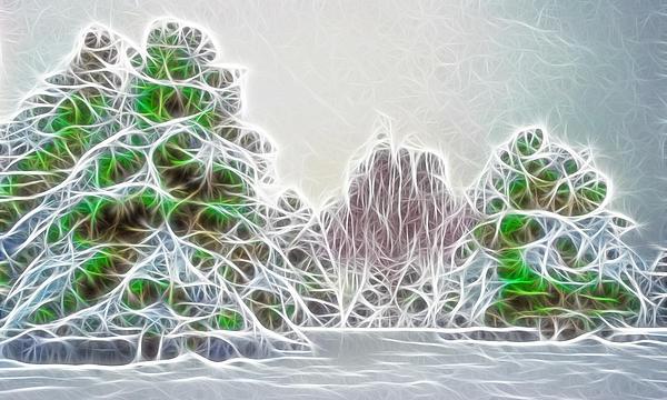Foggy Morning Landscape 17 - Fractal Abstract Print by Steve Ohlsen