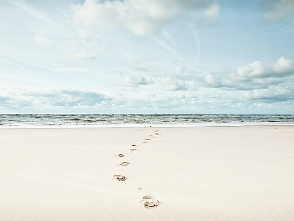 Footprints Leading Into Sea Print by Dune Prints by Peter Holloway