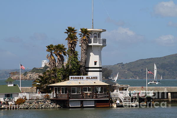 Forbes Island Restaurant With Alcatraz Island In The Background . San Francisco California . 7d14258 Print by Wingsdomain Art and Photography