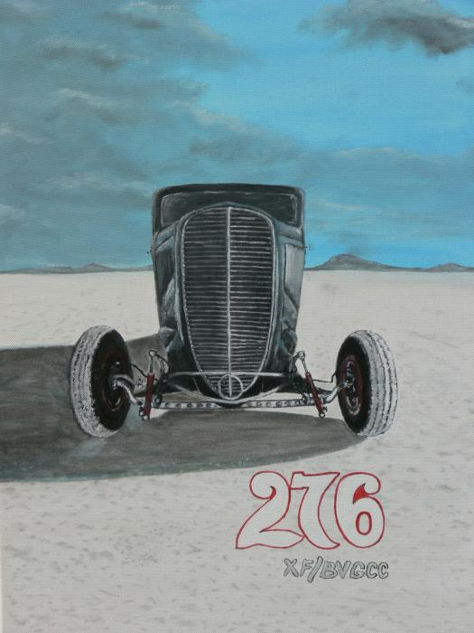 Ford 34 At Bonneville Painting  - Ford 34 At Bonneville Fine Art Print