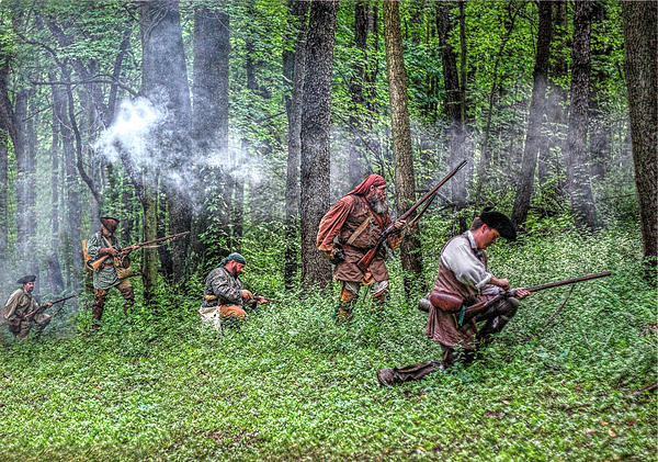 Forest Skirmish Rangers 1763 Digital Art  - Forest Skirmish Rangers 1763 Fine Art Print