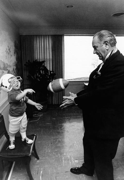 Former President Lyndon Johnson Plays Print by Everett