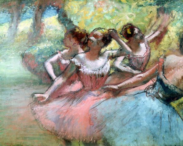 Four Ballerinas On The Stage Print by Edgar Degas