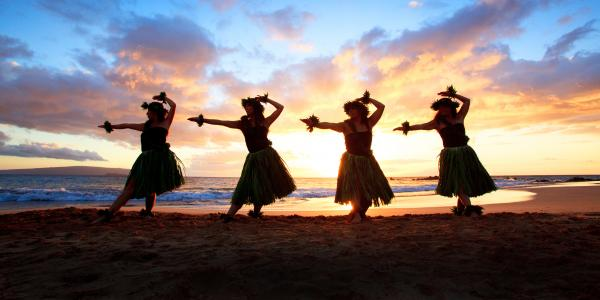 Four Hula Dancers At Sunset Photograph