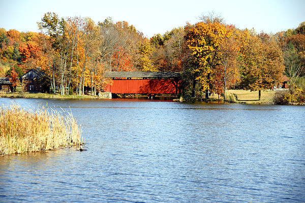 Fowler Lake And Covered Bridge Print by Franklin Conour
