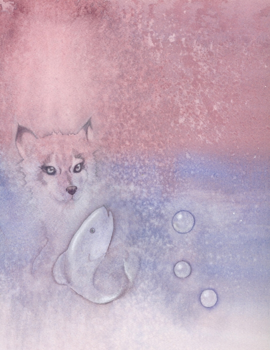 Fox And Fish Print by Christine Winters