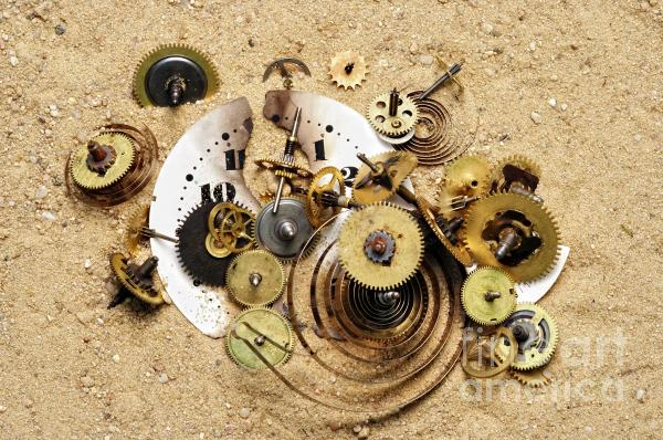 Fragmented Clockwork In The Sand Print by Michal Boubin