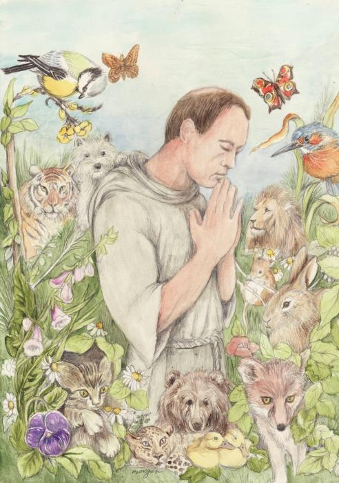 Francis Of Assisi With The Animals Print by Morgan Fitzsimons
