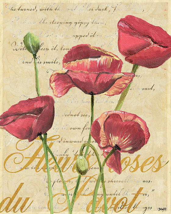 French Pink Poppies 2 Print by Debbie DeWitt