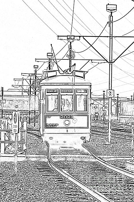 French Quarter French Market Cable Car New Orleans With Photocopy Print by Shawn O'Brien