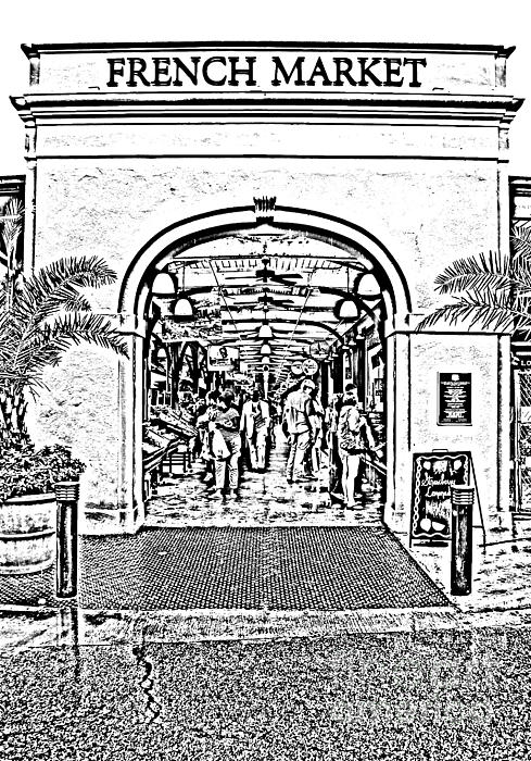 French Quarter French Market Entrance New Orleans Photocopy Digital Art Print by Shawn O'Brien