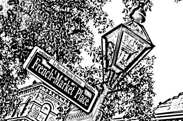 French Quarter French Market Street Sign New Orleans Photocopy Digital Art Print by Shawn O'Brien