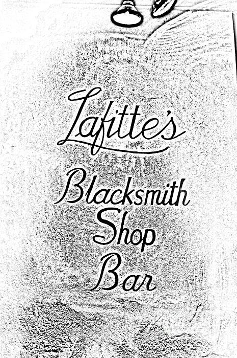 French Quarter Illuminated Lafittes Blacksmith Shop Bar Sign New Orleans Photocopy Digital Art Print by Shawn O'Brien