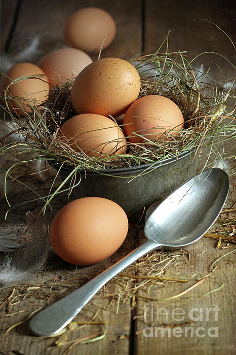 Fresh Brown Eggs In Old Tin Container With Spoon Print by Sandra Cunningham